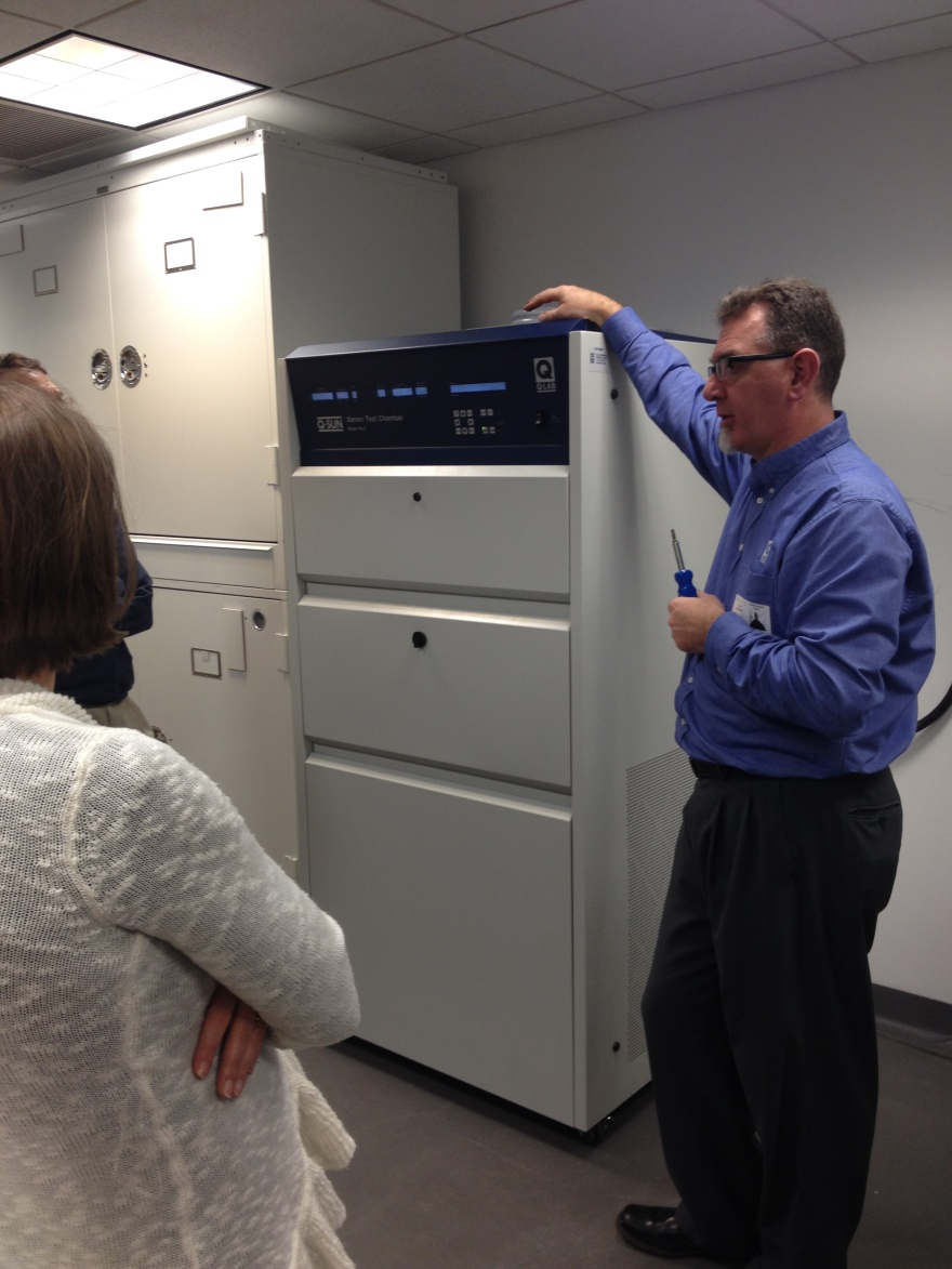 QSun Aging Chamber with Qlab training specialist Alan Boerke for size comparison.